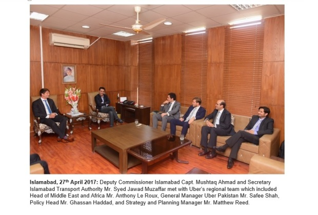 Uber's Regional Team Meets Government Officials in Islamabad